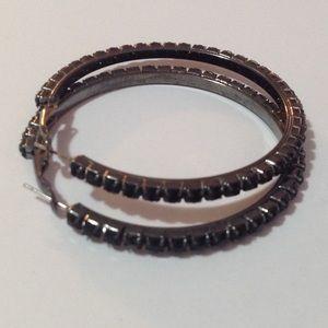 """Charcoal Tone Black Beaded Hoop Earrings 2 1/2"""""""